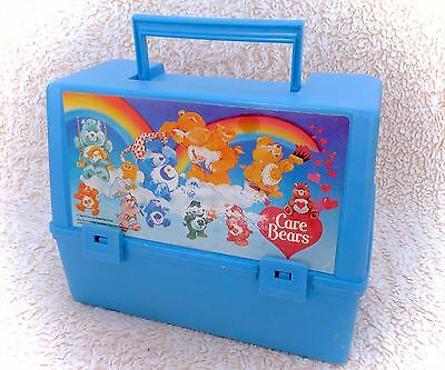 Vintage 1983 Care Bears Thermos Lunchbox Pail Box Plastic Blue RARE Canadian 80s
