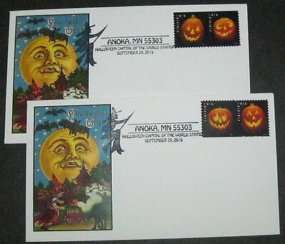 2016 Jack O'Lantern Partial HORIZ IMPERF Pairs on FDC ANOKA,MN UNOFFICIAL Cancel