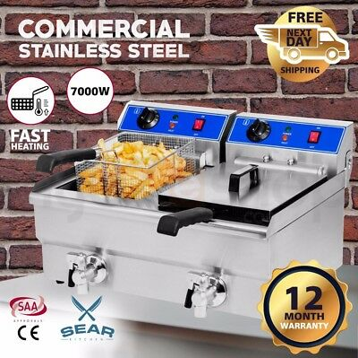 SEAR Commercial Deep Fryer Electric - Double Basket w/ Oil Tap - Stainless Steel