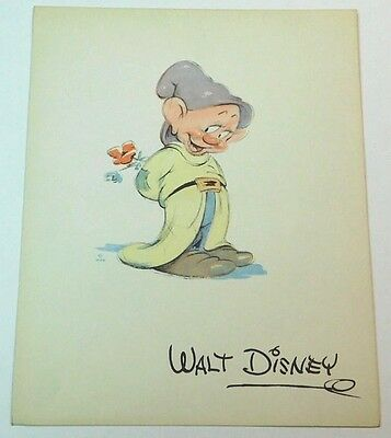 Vintage 1938 WALT DISNEY Art Card Print DOPEY of Snow White And The Seven Dwarfs