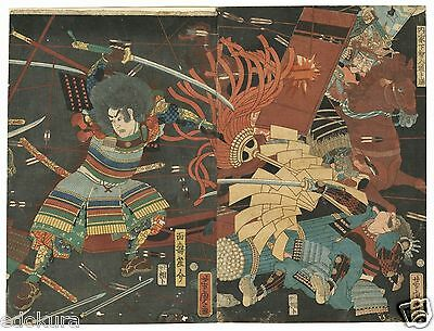 Orig YOSHITORA EDO Antique JAPANESE Woodblock Diptych Print - SAMURAI Battle