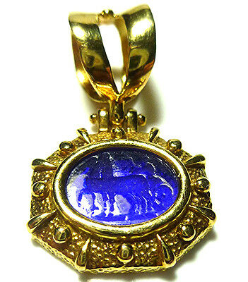 Italy 18K Yellow Gold Etruscan Warrior Carriage Etruscan Blue Intaglio Pendant