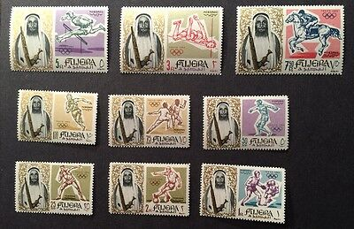 FUJEIRA 1964 Sheik Olympics Complete Stamp Set of 9  MINT UNMOUNTED MNH SC#19-27