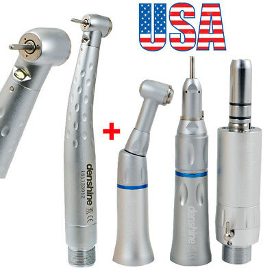 Dental High Low Speed Handpiece Kit Push Button 2Hole Egenerator LED f/ NSK KAVO