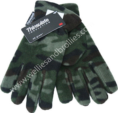 Kids Thinsulate Green Army Camouflage Gloves. Boys Childrens Khaki Camo Gloves