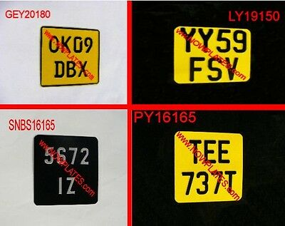 Motorcycle Number Plate Yellow & Black or Black & Silver 4 SIZES(Pressed Plates)