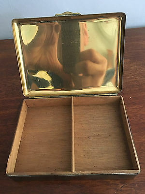 Vintage Brass Cigarette Tobacco Box Case Tin STATE EXPRESS CIGARETTES 1950's
