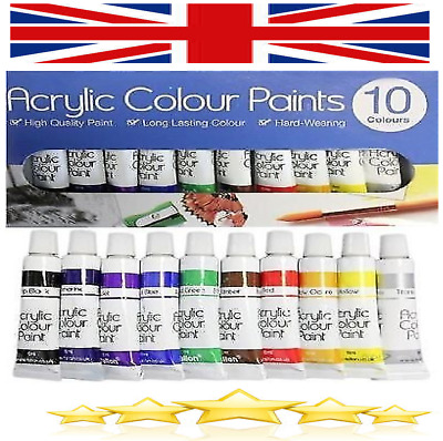 10 Piece Acrylic Paint Art Painting Colour Permanent Water Resistant Set 6ml
