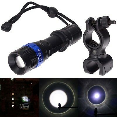 CREE XM-L Q5 LED Flashlight Zoomable attaquant 6000lm Torch+support vélo clip DC