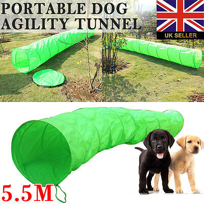 5.5M Portable Pet Dog Agility Tunnel Training Equipment with Carry Bag Green