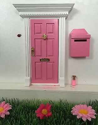 Pink Wooden Fairy Door With Fairy Dust And Magic Key