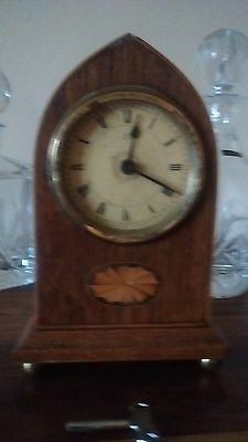 Antique Mahogany Inland Mantle Clock In Good Working Order