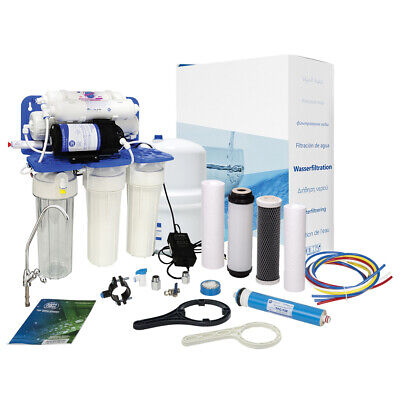 AquaFilter 6 Stage Reverse Osmosis System with pump 75GPD  for drinking water