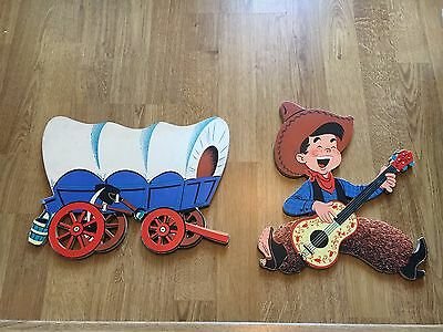 Vintage Dolly Toy Company Cowboy And Indian Wooden Pin Up Wall Hanging