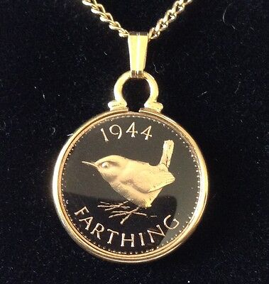 1944 George VI Enamelled Farthing Coin Pendant. Black/gold. 73rd Birthday.