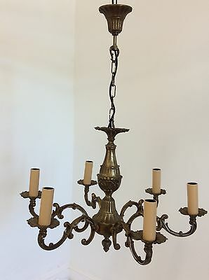 Rococo Antique Style 6 Arm Brass Chandelier
