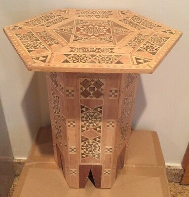 A Medium SYRIAN Moorish Octagonal Wood Coffee Table Mosaic Inlaid