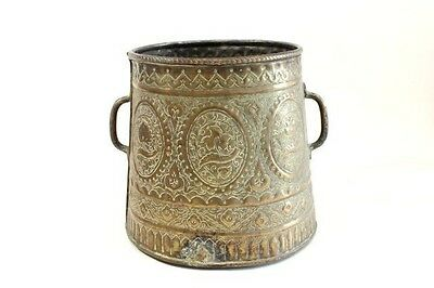 A Middle Eastern Brass Vase Egyptian/SYRIAN With Twin Handles