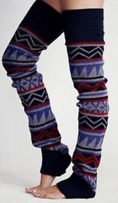 Free People Loveland Thigh Hi Leg Warmers Blue Combo