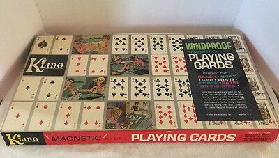 Vintage Kling Windproof Magnetic Steel Playing Cards in Box, Board & Cards