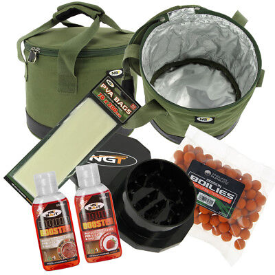 NGT Insulated Bait Bin Boilies with Crusher Liquids and PVA Bag Carp Fishing Set