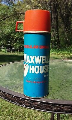 Maxwell House Metal Thermos Coffee Vintage Usa 1960s Good Last Drop