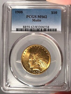 1908 $10 PCGS MS 62 Indian Head Gold Eagle - Motto