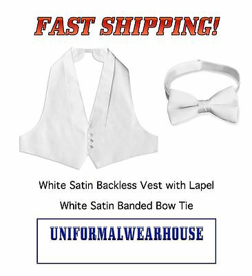 WHITE SATIN Backless Formal Tuxedo Vest Bow Tie for Tail Jacket NEW All Sizes