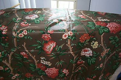 Vtg Hamilton Cotton Chintz Fabric Wild Ross & Morning Glories PRINTED IN ENGLAND
