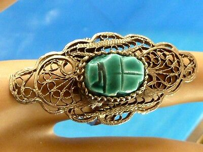 Vintage Chinese Scarab Long Filigree Silver Plated Over Copper Ring Sz 7