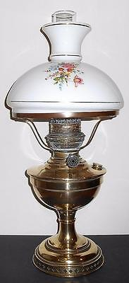 Victorian Large Brass & Opaline Glass Decorated Oil Lamp 22""