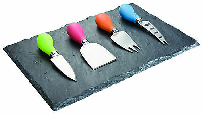 New Taylors Eye Witness Slate Cheese Board & 4 Knife Set Multi Colour