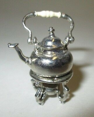 Eugene Kupjack Dollhouse Miniatures Sterling Silver Tea Kettle and Warmer Stand