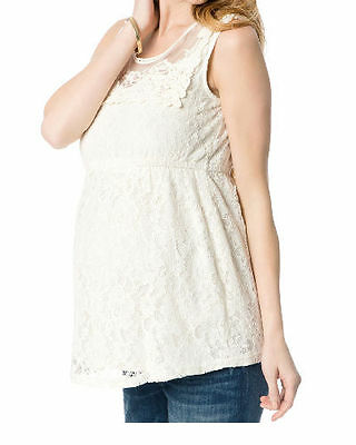 Motherhood Maternity Clothes shirts tops pregnancy Sleeveless white lace top NEW
