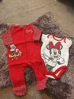 Mothercare Baby Girls Minnie Mouse Sleepsuit & Vest Set 6-9 Months