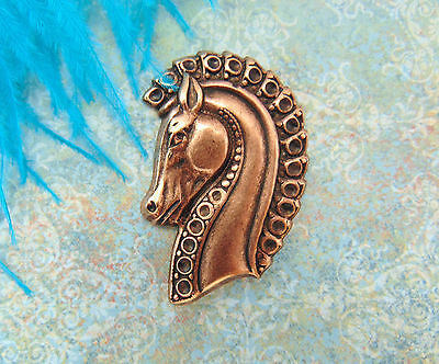 ANTIQUE COPPER Medieval TROJAN HORSE HEAD Stamping ~ Finding (E-9) `