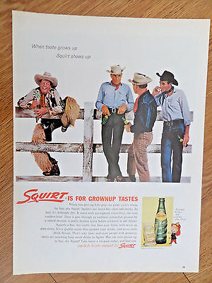 1962 Squirt Soda Pop Bottle Ad  Cowboys Theme