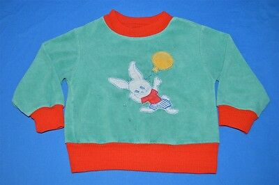 vintage 80s BUNNY RABBIT BALLOON VELOUR RED KIDS BABY SWEATSHIRT 12-18 MONTH