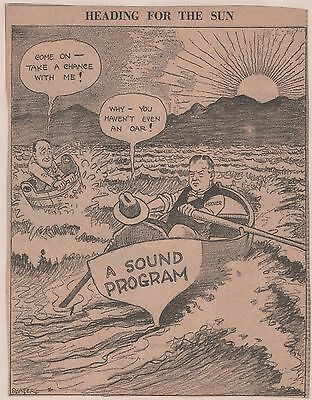 Anti Roosevelt Cartoon w/ HOOVER In Sound Boat & FDR w/out An Oar in Bucket