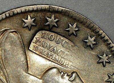 "1834 Capped Bust half ""Houck's Panacea Baltimore"" counterstamp AU X947"