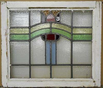 "MID SIZED OLD ENGLISH LEADED STAINED GLASS WINDOW Floral Stripe 24.75"" x 21.25"""