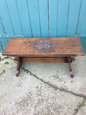 Antique Vintage Carved Oak Bench Low Table Coffee Table