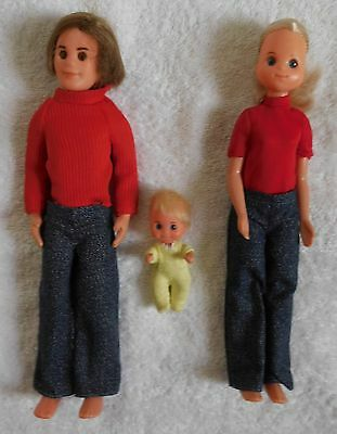 """Vintage SUNSHINE FAMILY Lot 9"""" MOM, DAD, & 3"""" BABY Dolls w/Outfits MATTEL 1973"""