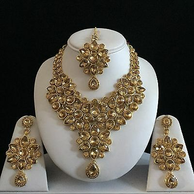 Beige Gold Indian Costume Jewellery Necklace Earrings Diamond Set Bridal New