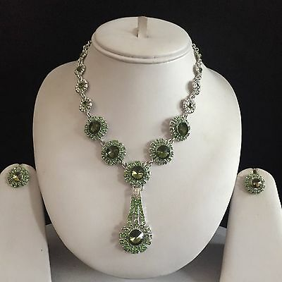 Green Silver Indian Costume Jewellery Necklace Earrings Crystal Diamond Set New