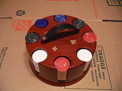 Poker Chip Set Wooden Revolving Carousel Caddy Bombay, 2001, EXCELLENT CONDITION