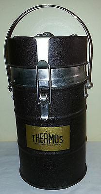 Antique X-Large Metal Thermos Vaccum Bottle Made In England Appointed By King