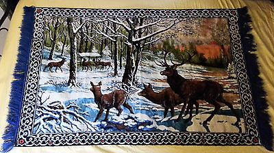 "Vintage Retro Mid Century Deer Scence Wall Hanging Tapestry - 38"" X 62"""