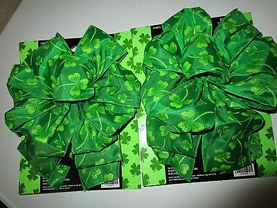 """St Patrick's Day Fabric Bows 7"""" W/ 12"""" Streamer Nwt (2 Bows)"""