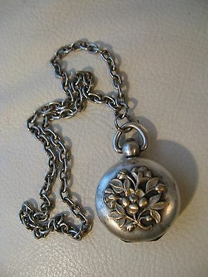 Antique Victorian Chatelaine Brass Floral  Relief Compact Watch Fob Coin Holder